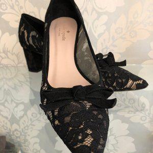 Kate Spade Black Lace & Sheer Mesh Block Heels